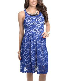 Look at this Royal Blue & White Lace Racerback Dress on #zulily today!