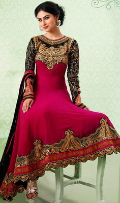 Mouni Roy Black and Pink Georgette Anarkali Suit Reveal your amazing ethnic style like Mouni Roy dressed in this black and pink georgette Anarkali suit. The incredible attire creates a dramatic canvas with superb aari, patch, resham and stones work. #GeorgetteAnarkaliSuit #FancyGeorgetteLongSuits
