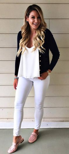 casual style obsession / black blazer + top + white skinnies + loafers