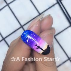 Simple starry nail art design Simple starry nail art design✰A Fashion Star✰ art # nail design This image has. Nail Art Hacks, Nail Art Diy, Easy Nail Art, Cool Nail Art, Diy Nails, Cute Nails, Simple Nail Art Videos, Nail Art Designs Videos, Nail Design Video