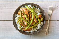 Glazed Chicken with Green Beans and Coconut Rice