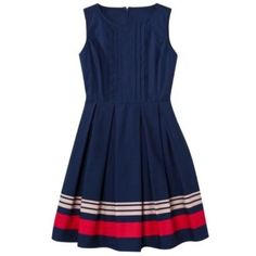 """Jason Wu for Target Navy Poplin Dress The standout item from Jason Wu's collaboration with Target! Navy poplin dress with red and pink stripes. Beautiful pleated detailing. Hidden pockets! Cotton. Back zip. Unlined. Size 4. 16.75"""" bust, 36"""" length. Worn once, in EUC. No trades, no PayPal. Third photo lightened a bit to show detail. Last photo from Economy of Style. Love how she styled it. Jason Wu Dresses"""