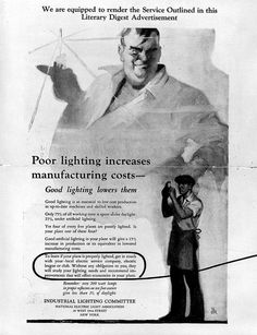 "Industrial Lighting Advertisement inside single-fold mailer ""Poor lighting increases manufacturing costs. Good lighting lowers them..."", 1926 by Kheel Center, Cornell University, via Flickr"