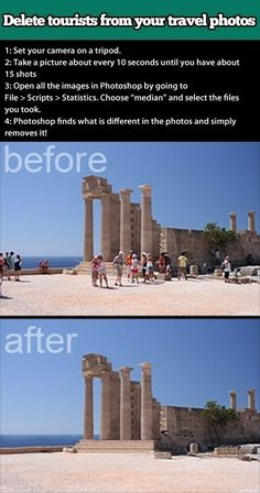 Delete pesky tourists from your travel photos. | 21 Incredibly Simple Photoshop Hacks Everyone Should Know