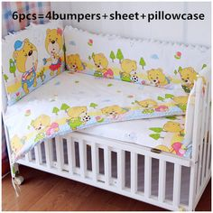 Promotion! 6PCS Cot Baby bedding crib sets.Crib set 100% cotton Newborn Baby Bed Linens,include(bumper+sheet+pillow cover)