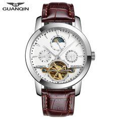 GUANQIN Brand Watch Men Elegant Fashion Mens Multifunction Business Mechanical Wristwatches Brown White Free Shipping #Affiliate