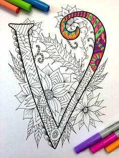 Letter V Zentangle Inspired by the font Harrington by DJPenscript