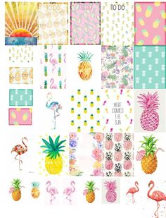 Laughing Without An Accent: PINEAPPLES AND FLAMINGOS HAVE TAKEN OVER - FREEBIE PLANNER STICKERS!