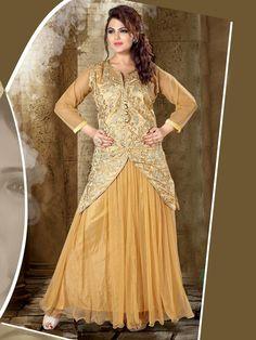 Dazzling beige color net gown with resham, zari thread work. Item Code: GTF3012  http://www.bharatplaza.com/new-arrivals/gowns.html