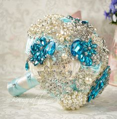 Wedding Turquoise brooch bouquet, Ivory & lake blue bouquet, Silver pearls brooch bouquet, Rhinestone bridal bouquet, Jewelry bouquet.