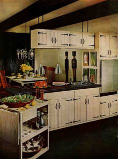 My kitchen has original cabinets from the 60s/70s that look JUST like these. The strap hinges are painted over now and they have hideous pulls on them, but I'm totally restoring it to look like this!
