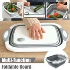 Foldable Multi-Function Chopping Board The ideal solution to small kitchens and a crowded cabinet. This innovative and lightweight bucket is designed for easy storage and carrying that can be expanded and collapsed to (less than inches) of its ori Cool Kitchen Gadgets, Home Gadgets, Cooking Gadgets, Kitchen Items, Kitchen Hacks, Cool Kitchens, Small Kitchens, Cheap Gadgets, Small Kitchen Solutions