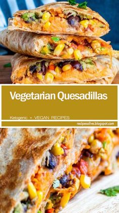 These Vegetarian Quesadillas are the best quick weeknight dinner or lunch! Filled with black beans, sweet potato and avocado these are healthy and delicious!