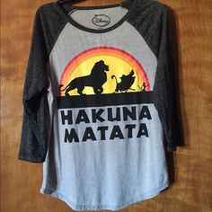 Nwot Hakuna Matata baseball tshirt Soft, two-tone grey. Only worn once to try on. Disney Tops Tees - Long Sleeve