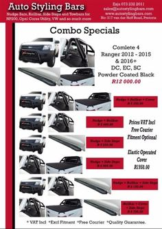 July Combo's Ford Ranger & Toyota Hilux 2016+ Stainless Steel & 409 Stainless Powder Coated BLACK & BLACK - See Brochure...203939978