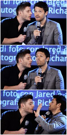 "Acting out a scene from ""Hitch"" and being very good sports about it ! #JibCon14 #Jensen #Misha"