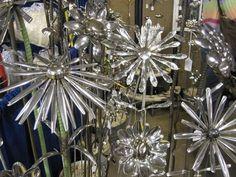 Silverware sculpted flowers.
