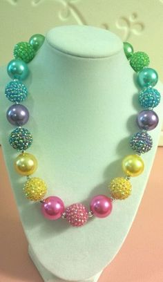 New Girls Handmade Chunky Bubblegum Beaded Necklace Kids Acrylic Very Pretty | eBay