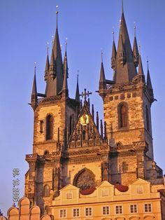 The Tyn church at sunset Prague, Czech Republic