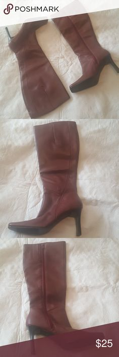 NWOT Deep red heeled boots Make a fashion statement by dressing up any outfit. Never worn. No box. Karen Scott Shoes Heeled Boots