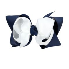 CuteOn Baby Girls Hair Bows Grosgrain Ribbon Bows With Alligator Clips White and Navy blue * You can get more details by clicking on the image.