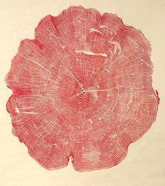 WoodCut, 2012  La série WoodCut de l'artiste Bryan Nash Gill a été réalisée à partir de l'empreinte encrée de troncs d'arbres découpés. Ces impressions mettent en exergue la complexité des formes, presque mathématiques, la finesse des lignes et la texture du bois qui devient purement graphique. À la manière d'une empreinte digitale, chaque impression devient individuelle, faisant apparaître une personnalité, une sensibilité à fleur de peau.