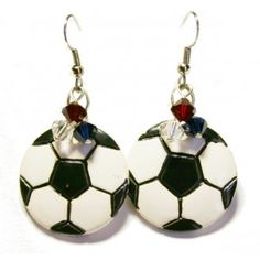 Repin, Follow us, Like us on Facebook to win these earrings! The craziest fan wins! Support the US team in the World Cup wearing these USA Soccer Earrings! Swarovski crystals in the USA colors and ceramic soccer ball on stai...
