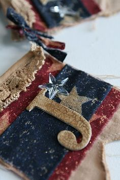 Tea dyed canvas banner for July 4th!! #mayaroad #banner #july4