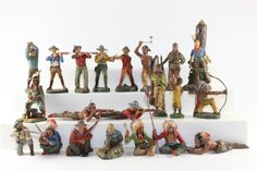 Elastolin Lineol Wild West Composition Indians Cowboys Good Condition No Box 21 Pieces http://www.oldtoysoldierauctions.com/images/auction24/3310_1.jpg