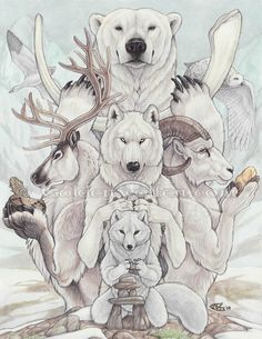 Arctic Treasures  Totems of the Arctic hold treasures from their home. Polar Bear holds a whale bone, Arctic Wolf holds an Ulu, Arctic Fox finishes an Inukshuk, Reindeer holds an Inuit grass bowl, Dall Sheep holds a gold nugget, and Snow Owl and Snow Goose fly overhead. The best treasures of the arctic, though, are the animals themselves!    Watercolor and Colored Pencil on 11″ X 14″ Bristol paper.  2008.