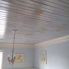 Antiqued ceiling using new materials
