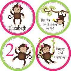 Mod Monkey Party círculos color de rosa y limón por PurpleBerryInk, $12.00