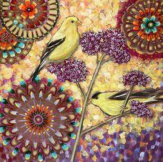 Goldfinches on Verbena 2 Archival Print on Wood by LinneaTobias (Art & Collectibles, Prints, Linnea Tobias, Linnea Tobias Art, goldfinch art, goldfinch print, bird art, bird print, verbena bonariensis, garden art, garden print, print on wood, 6x6 in print, purple, yellow)