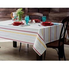 The Pioneer Woman Vintage Stripe Tablecloth, 60 inchW x 102 inchL , Multiple Sizes, Multicolor Dining Room Table, Dining Area, Dining Rooms, Pioneer Woman, Table Linens, Kitchen Decor, Kitchen Dining, Kitchen Ideas, Houses