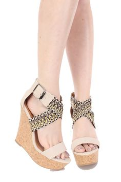 Qupid Cork Wedges Criss-cross Ankle Buckle Straps Zipper Closure Qufinder-325 *** To view further for this item, visit the image link.