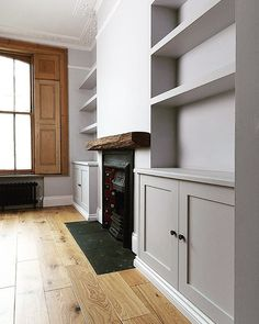 Interior Decor Program bespoke_alcove_cabinets_and_chunky_floating_shelves_by_Adam_J_Whittle.Interior Decor Program bespoke_alcove_cabinets_and_chunky_floating_shelves_by_Adam_J_Whittle Home Fireplace, Cosy Living Room, Victorian Living Room, Log Burner Living Room, Built In Shelves Living Room, Living Room With Fireplace, Alcove Cabinets, Living Room Inspo, Built In Cupboards