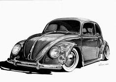 VW Bug drawing by SliderGirl on DeviantArt Vw Super Beetle, Beetle Car, Vw Bus, Vw Camper, Kombi Pick Up, Bugs Drawing, Beetle Tattoo, Tiki Tattoo, Industrial Design Sketch
