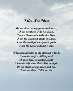 I Am Not There Memorial Poem 8 x 10 Print   Etsy