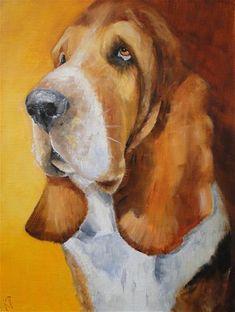 """Daily Paintworks - """"Basset Hound"""" - Original Fine Art for Sale - © Karen Robinson"""