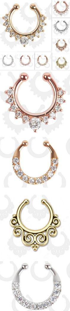 $4.95 - Free Shipping - Fake Septum Nose Ring Hoops in Rose Gold Gold & Silver - Body Jewelry - The Trendi Shop