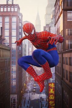 Sam Raimi Suit from the First Spiderman Movies was one of my favorite suit in Marvel Spiderman Game, the detail was so crazy. Who else love this webbed costume worn by Tobey Maguire? Spiderman Sam Raimi, First Spiderman, Spiderman Movie, Amazing Spiderman, Spiderman Cosplay, Marvel Dc, Marvel Comics, Marvel Comic Universe, Marvel Films