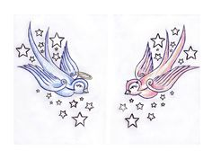 Tattoos Angel Devil Women | angel and devil swallow birds tattoo idea Swallow Bird Tattoos