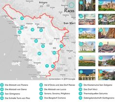 Die 12 schönsten Sehenswürdigkeiten in der Toskana - Urlaub отпуск , Baby Care App, Vacation Pictures, Honeymoon Destinations, Honeymoon Ideas, Ravenna, Toscana, Italy Vacation, Thing 1 Thing 2, Outdoor Fun