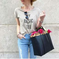 WEBSTA @ projectsocialt - Casual Cool,  Regram of @astylishsideproject in My Basic Tee.  #projectsocialt #madeinla #stripes #streetstyle #instafashion #instamood #instacool #minimalism #basic #blogger #spring #ootd #casual