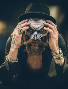 Happy 13th! Model and Photographer Unknown #Tattoos #color #beard…