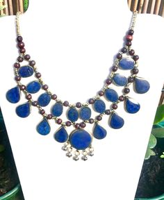 Excited to share this item from my #etsy shop: lapis lazuli necklace, boho Statement necklace, bib necklace, Afghan jewelry, teardrop necklace, gypsy necklace,Tribal Jewellery #jewellery #necklace #blue #birthday #teardropnecklace #bohonecklace #vintagenecklace