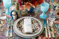 Holiday table setting from Bunny Williams and Eddie Ross