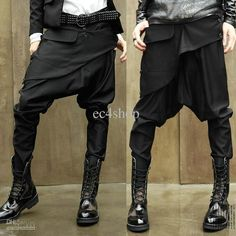 NWT Men Women Unisex Korean Style Casual Hip Hop Dance Low Drop Crotch Gothic Emo Punk Goth Harem Baggy Tapered Skinny...