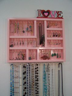Wall Jewelry Display Case, Jewelry Organizer from barbwireandbarnwood on Etsy. #jewelry #need #pink #love #organizer #cute #organized #jewlery.