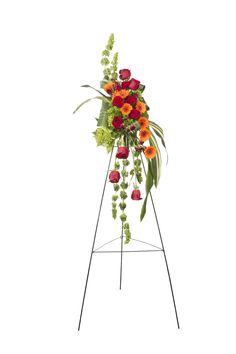 Red and orange flower easel spray. Orange Flowers, Easel, Blossoms, Craft Supplies, Floral, Check, Plants, Red, Flip Charts